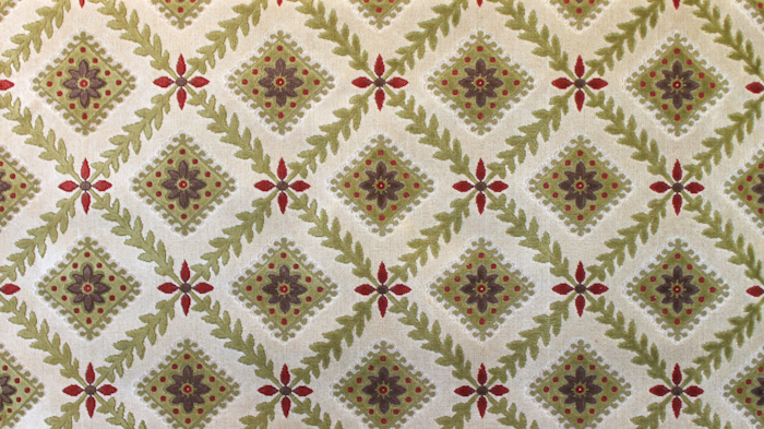 Chatsworth Linen Velvet Cream Ground/Green Diamond