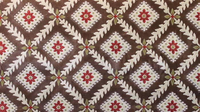 Chatsworth Linen Velvet Brown Ground/Cream Diamond